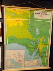 Sale 8364 - Lot 1088 - Vintage School Map of South Australia