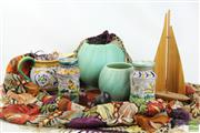 Sale 8494 - Lot 88 - Embroidered Silk Cloth, Diana & Mallorca Pottery, Bottle Ship & Salt and Peppers