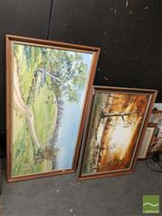 Sale 8548 - Lot 2066 - (2 works) M.Mer Pastoral Landscape 60 x 121cm; N. Frith Lone Cottage 60 x 90cm, each acrylic paintings/signed -