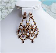 Sale 8577 - Lot 63 - A vintage amber rhinestone and borealis crystal drop earrings, L 9cm, Condition: Excellent