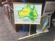 Sale 8707 - Lot 2003 - Group of Two Educational Maps with a Third Wall Display