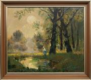 Sale 8755A - Lot 5092 - Kezdy Kovacs Laszlo (1864 - 1942) - Romantic Landscape and Figure 49 x 58cm