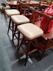 Sale 8801 - Lot 1051 - Set of 3 Vintage TH Brown Barstools