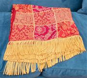 Sale 8891H - Lot 17 - A red and gold tasselled throw made by Marlborough House 130cm x 150cm