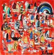 Sale 8968A - Lot 5043 - Yosi Messiah (1964 - ) - Red Silhouette 85 x 85 cm