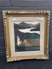 Sale 9050 - Lot 2021 - Original Korean Water Colour of Mountain Landscape (71 x 64cm)
