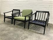 Sale 9056 - Lot 1057 - Set of 3 Vintage Japanese Timber Lounge Chairs (h:65 x W:67 x d:68cm)