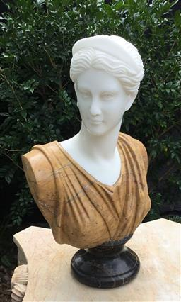 Sale 9175G - Lot 41 - .Carved Marble Diana Lady Bust. General Wear ,Nature Stone Vein/Fissure Line .Slight chipping at the base of back, Size: 52cm H x 31...
