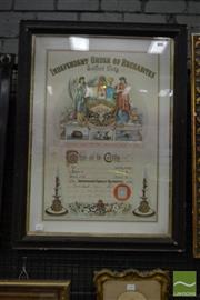 Sale 8500 - Lot 1057 - Victorian Chromolithographic Certificate for the Independent Order of Rechabites, Salford Unity chapter, for Brother G Cooper, image...