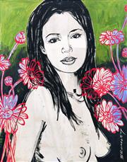 Sale 8657E - Lot 5019 - David Bromley (1960 - ) - Mallory with Flowers 70 x 55cm