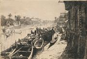 Sale 8678 - Lot 2029 - Donald Maxwell (1877 - 1936) - Moored Boats 15 x 22.5cm