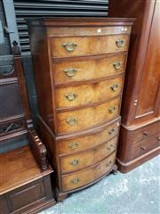 Sale 8792 - Lot 1017 - Georgian Style Bow-Fronted Burr Walnut Chest on Chest, with seven graduated drawers - Label for Rowntree, Scarborough, York to back...