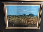 Sale 8797 - Lot 2069 - Clem Forbes - Brigalow 1976 oil on board, 81 x 105cm (frame), signed and dated lower