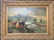 Sale 9041 - Lot 2033 - Artist Unknown (C19th) Highland Scene with Trout Fisherman and Cows oil on canvas 75 x 100cm (frame) initialled lower left