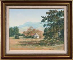 Sale 9155 - Lot 2021 - JOHN SHARMAN (1939 - ) Country Cottage in the Valley oil on board 54.5 x 59.5 cm (frame: 63 x 79 x 5 cm) signed lower right