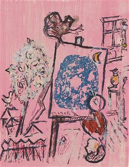Sale 9141 - Lot 598 - Marc Chagall (1887 - 1985) Si mon Soleil (from La Poèmes), 1968 colour lithograph 32 x 24 cm (frame: 75 x 68 x 3 cm) signed in print...