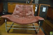 Sale 8350 - Lot 1090 - Italian Leather Sling Chair over Chrome Base