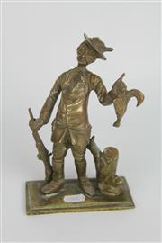 Sale 8396 - Lot 18 - Brass Figure Of Hunter with Pheasant