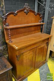 Sale 8500 - Lot 1083 - Victorian Mahogany Chiffonier, with carved back & shelf, long drawer & two panel doors
