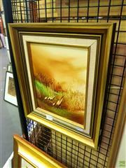 Sale 8645 - Lot 2044 - Jim Crofts - Birds in Landscape, oil on board 24 x 19cm signed lower left