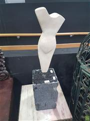 Sale 8648C - Lot 1008 - White on Black Marble Sculpture