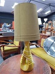 Sale 8723 - Lot 1090 - Vintage Mustard Ceramic Table Lamp with Matching Shade