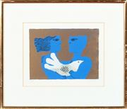 Sale 8855H - Lot 307 - Sami Briss (b. 1930), Two Figures with Dove, coloured screen-print, ed: artists Proof, SLR, 17 x 23.5cm