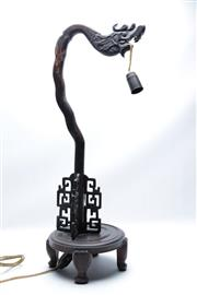 Sale 8864O - Lot 604 - A Carved Rosewood Table Lamp Depicting A Dragon (H 68cm, Small Repair to Neck)