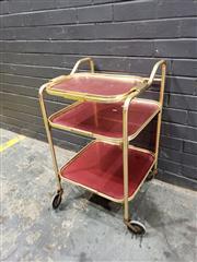 Sale 9022 - Lot 1036 - Anodised Drinks Trolley (h:80 x w:46 x d:46cm)