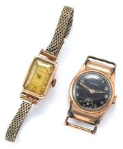 Sale 9037 - Lot 343 - TWO VINTAGE 9CT GOLD MANUAL WRISTWATCHES; Moeris 15 jewel, working, metal band, case wt. approx. 2.5g, a Lavina 17 jewel, with black...