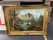 Sale 9061 - Lot 2055 - Windberg - Lake Scene, oil on board SLR, Gilt Framed