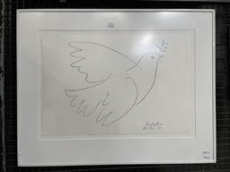 Sale 9113 - Lot 2026 - Pablo Picasso, Dove, framed decorative print, frame size 58 x 74 cm