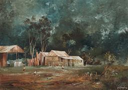 Sale 9133 - Lot 505 - Stuart Mckenzie Cullen (1933 - ) Evening Match, 1972 oil on board 35.5 x 48.5 cm (frame: 48 x 63 x 3 cm) signed lower right