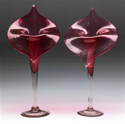Sale 9144 - Lot 47 - A pair of cranberry glass floral vases (H 35cm)