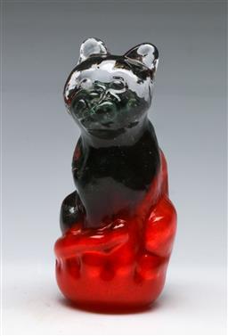 Sale 9156 - Lot 31 - An art glass cat figure (H: 16cm)