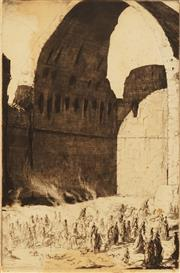 Sale 8666A - Lot 5064 - Charles William Cain (1893 - 1962) - Caravan Entering Ctesiphon Arch, Gate of Baghdad 37.5 x 25cm