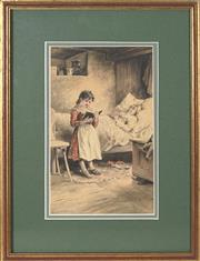 Sale 8755A - Lot 5078 - Charles George Copeland (1855 - 1945) - Reading to Grandma 26 x 16cm