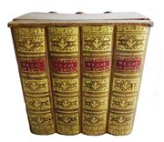 Sale 8828B - Lot 13 - An early C20th French secret 4 book stack tantalus with 3 amber bottles.  18 x 12 x 14cm