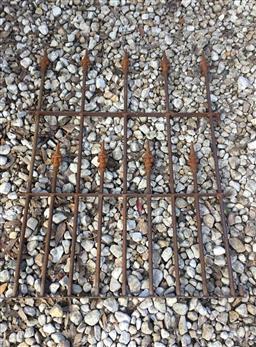 Sale 9175G - Lot 43 - Solid Heavy Wrought Iron / Cast Iron Garden Gate . General Wear , Surface Rust . Size 137cm H x 100cm W