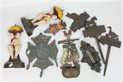 Sale 8417 - Lot 43 - Cast Iron Pair of Figural Doorstops with Other Metal Wares incl. Coat Hooks