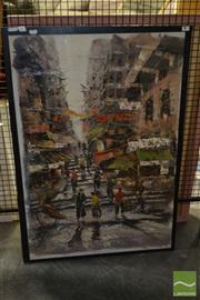Sale 8506 - Lot 2080 - Artist Unknown, Asian Street Scene, oil on canvas, unframed 99 x 69cm, signed lower left
