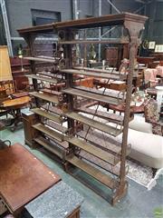 Sale 8634 - Lot 1002 - Pair of Victorian Cast Iron Patent Bookshelves Formerly from The Royal Botanic Gardens, Sydney,  Arthur Lamberts patent c1880, manu...