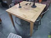 Sale 8648C - Lot 1053 - Oak Square Top Dining Table (L: 100 W: 100cm)