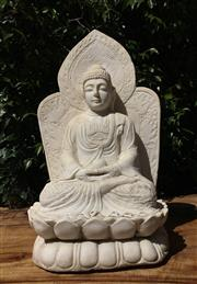 Sale 9015G - Lot 78 - Carved Alabaster Buddha Sculpture. General Wear, Chipping ,Natural Stone Crack Line .Size 52cm H.