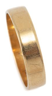 Sale 9046 - Lot 309 - AN 18CT GOLD BAND; 5mm of plain form, size V, wt. 5.54g.