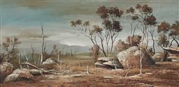 Sale 9133 - Lot 576 - Stuart Mckenzie Cullen (1933 - ) Bush Rock, 1972 oil on board 29 x 59.5 cm (frame: 54 x 73 x 3 cm) signed lower right