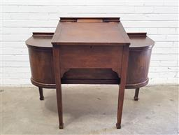 Sale 9129 - Lot 1007 - Antique lift top clerks desk with two doors on each side (h:97 w:123 d:62cm)
