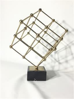 Sale 9175G - Lot 44 - Metal Modernist Sculpture on Marble .General Wear.Size 38cm H