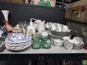 Sale 8582 - Lot 2495 - Table Lot of Sundries incl. Noritake Demi Tass Coffee Set, Mikasa Dinner Wares, Crystal Bowls, House Tea Pot, Glass Cups, etc