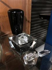 Sale 8789 - Lot 2308 - Dark Glass Vase Together with Cut Glass Candlestick Holder An Ashtray and Stopper